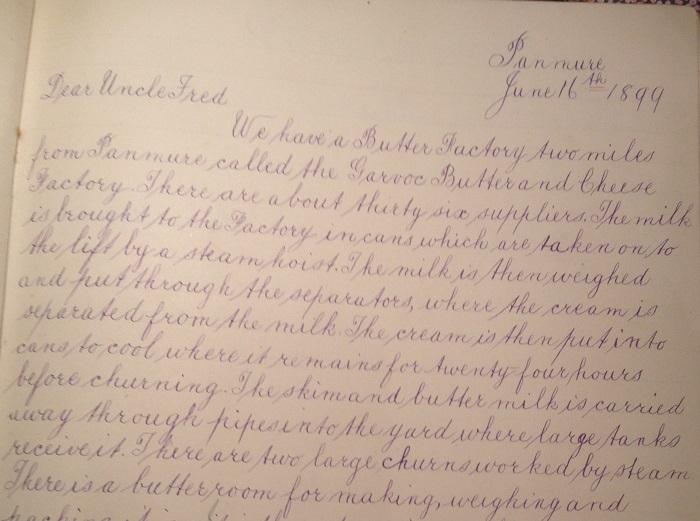 Handwriting Panmure Primary School 1899