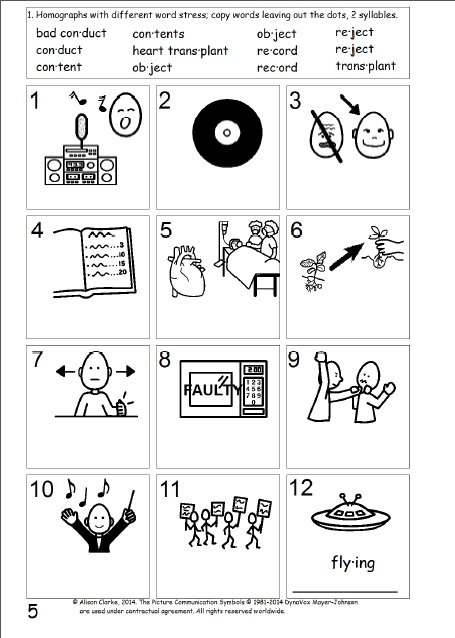homographs with different word stress