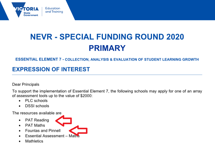 Why Is The Vic Ed Dept Promoting A Fountas And Pinnell Assessment Spelfabet
